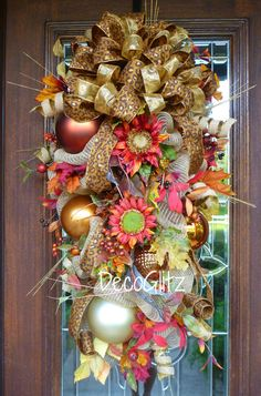 Fall or Thanksgiving Mesh SWAG with SUNFLOWERS Fall by decoglitz