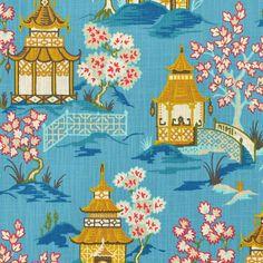 Scalloped Valance in Shoji Azure Blue Oriental Toile Multicolor Chinoiserie