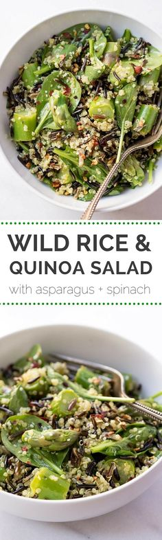 4 Points About Vintage And Standard Elizabethan Cooking Recipes! Wild Rice Quinoa Salad With Asparagus And Tossed In A Lemon-Turmeric Vinaigrette - Simple, Healthy And Super Refreshing Asparagus Salad, Spinach Quinoa Salad, Cooked Quinoa, Clean Eating Recipes, Healthy Eating, Cooking Recipes, Healthy Salad Recipes, Vegetarian Recipes, Cuisine