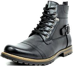 Bruno MARC PHILLY Men's Formal Classic Cap Toe Vintage Laced Up Side Zipper Military Combat Boots