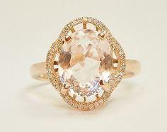 Morganite Rose Gold Engagement Estate Ring