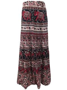 Wrap Skirt Elephant Printed Cotton Maroon Brown Casual Wrap Around Skirts Dress