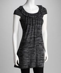 Charcoal Cap-Sleeve Dress