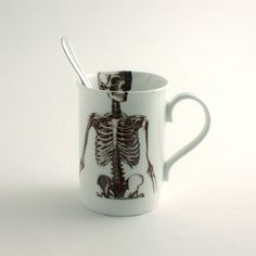 ** Skeleton Mug Bone China Tea or Coffee Halloween Creepy Spooky Anatomy Anatomical White Brown