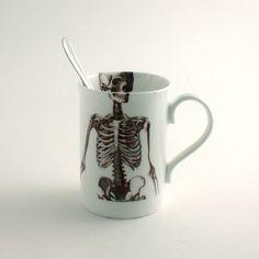 Skeleton Mug Bone China Tea or Coffee by MoreThanPorcelain on Etsy #kitchen #products