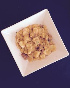 Orecchiette con salsa de calabaza y salchicha