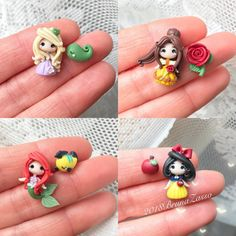 """Princesses Stud Earrings """"Cute Kawaii Fimo Polymer Clay Clay"""" Earrings Pin Inspired By Disney PrincessEs Ariel Belle Rapunzel Snow White … Fimo Disney, Polymer Clay Disney, Crea Fimo, Polymer Clay Kawaii, Fimo Clay, Polymer Clay Charms, Polymer Clay Creations, Polymer Clay Earrings, Disney Clay Charms"""