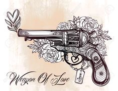 46862434-Hand-drawn-Retro-Gun-Revolver-Pistol-with-hearts-and-flowers-in-vintage-style-Ornate-romantic-tattoo-Stock-Vector.jpg (1300×1000)