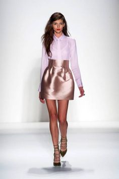 Marissa Webb S/S 2014- Not crazy about the shoes or the shiny material. But otherwise, superb fit. Fantastic look.