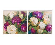 Set de 2 cuadros Hortensias - 82x82 cm