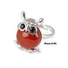 (Silver) Korean Lovely Fashion OWL Decorated With CZ Diamond Charm Rings General. Fashionable with passion REPIN if you like it.😊 Only 49 IDR