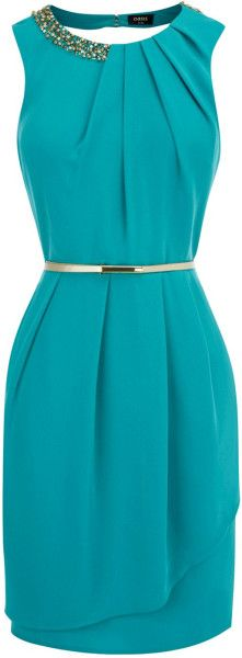 Oasis Paloma Embellished Dress in Blue (dark green) | Lyst