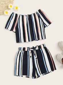 To find out about the Girls Striped Bardot Top & Drawstring Waist Shorts Set at SHEIN, part of our latest Girls Two-piece Outfits ready to shop online today! Girls Fashion Clothes, Kids Outfits Girls, Teenager Outfits, Teen Fashion Outfits, Cute Fashion, Shorts For Girls, Beach Fashion, Cute Comfy Outfits, Cute Girl Outfits