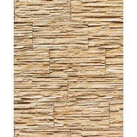 Carta da parati spazzolabile EDEM 1003-31 effetto muro di pietra naturale rilievo ardesia lavagna beige sabbia marrone