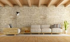 Modern living room with pallet sofa,stone wall and wooden ceiling Rendering living room interior royalty free stock images stock illustration Recycled Furniture, Pallet Furniture, Cool Furniture, Pallet Ottoman, Diy Pallet Sofa, Pallet Ideas Easy, Diy Pallet Projects, Diy Ideas, Pallet Floors