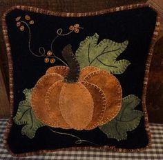 Wool Applique Pattern – Little Pumpkin Pillow – Choice of Pattern Only or Pattern with Wool Kit – 2019 - Wool Diy Fall Applique, Wool Applique Patterns, Pumpkin Applique, Applique Pillows, Halloween Quilts, Pumpkin Pillows, Wool Pillows, Penny Rugs, Penny Rug Patterns