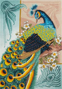 Peacock Cross Stitch Bird kit - Asian counted cross stitch peacock embroidery design feather cross s Cute Cross Stitch, Cross Stitch Bird, Cross Stitch Patterns, Peacock Embroidery Designs, Back Stitch, Stitch Kit, 3d Paper Crafts, Needlepoint Kits, Dot Painting