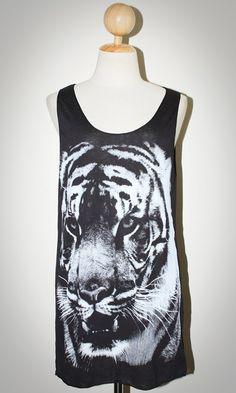 BENGAL TIGER Face Animal T-Shirt Black Sleeveless Tank Top Women Indie Art Rock Size M