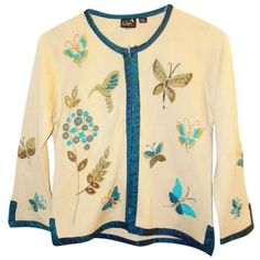 Pre-owned CoVelo Butterflies & Flowers Embroidered Silk Cardigan ($59) ❤ liked on Polyvore featuring tops, cardigans, multicolor, butterfly tops, cardigan top, colorful tops, beige cardigan and multi color tops