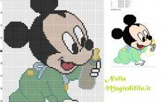 Mickey Mouse bébé avec une bouteille