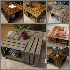 Tables En Caisses à Pommes / Apple Crates Into Coffee Table