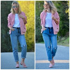 Life in pink Ray Ban Round Sunglasses, Pink Bomber, Round Ray Bans, Sporty, Street, My Style, Jeans, Casual, Fashion