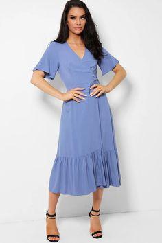 Light Blue Ruffle Hem Wrap Maxi Dress – SinglePrice
