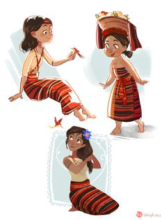 study of my main character in a fairy tale type story. (still unsure of her age) She is based on one of the indigenous groups of the Philippines, Kalinga. it's always been one of my goals to actually write stories using our rich culture and mythologies. Female Character Design, Character Design References, Character Design Inspiration, Character Concept, Character Art, Concept Art, Drawing Cartoon Characters, Cartoon Drawings, Hair Drawings