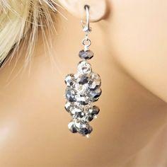Crystal Bridesmaid Earrings Metallic Silver by PixieDustFineries