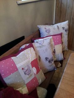 Cushions made using annie sloan french hen fabric and vanessa arbuthnott fabrics