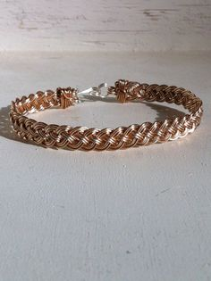 woven wire bracelet in sterling silver and bronze 3000 via etsy