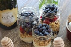 #Fruit and #yogurt #parfaits are a delicious and easy option for guests to enjoy while they mingle. Layer yogurt, granola and fresh berries in a mason jar.