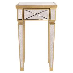 ‪#‎Productoftheweek‬ is our Antique Gold Mirrored Pedestal. It features antiqued mirrored panels trimmed in gold. It is the perfect place to stow away things you need out of the way. Even better? It is in stock and ready to go today!  Howard Elliott Collection - Antique Gold Mirrored Pedestal