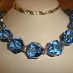 Art Deco Choker Large Blue Crystals by TheJewelryEmporium on Etsy, $95.00