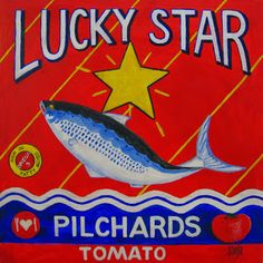 Sonja Peacock Art Lucky Star Pilchards Vintage Food Posters, Vintage Food Labels, Vintage Recipes, Vintage Advertisements, Vintage Ads, Vintage Stuff, South Africa Art, Cool Happy Birthday Images, Peacock Art
