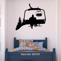 Ski Lift Wall Decal Skiers Decals Snowboard Winter Sport- Ski Lift Chair Wall Decal- Skiing Sports Decal Bedroom Kids Mountain Decor – Pin's Page Décor Ski, Chalet Ski, Ski Lift Chair, Ski Lodge Decor, Mountain Decor, Mountain Bedroom, Mountain Mural, Mountain Cabins, Sports Decals
