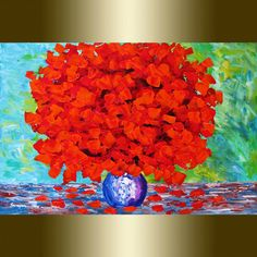 Red Roses abstract  Modern Flower Oil Painting by viorelscoropan, $245.00