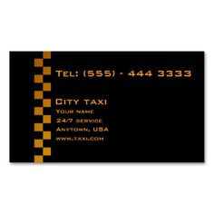 Simple Black In Gold Letters Taxi Service Card Business Card. Make your own business card with this great design. All you need is to add your info to this template. Click the image to try it out!