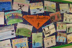 Great project to go with the Olympics. I use this one with the graders and we look at the pictographs for all the events, to see which ones are the most helpful for visual references. Art Lessons For Kids, Art Lessons Elementary, Art For Kids, Classroom Art Projects, Art Classroom, 3rd Grade Art Lesson, Kids Silhouette, Middle School Art, Winter Art
