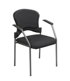 e2fd6eb63 Office Star Pro-line Ii 82710-30 Titanium Finish Visitors Chair With Arms  And Upholstered Contour Back