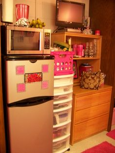 Who could have imagined that you could fit so much in so little space. is it possible to get this fridge for our dorm??? it has a freezer! (: -B