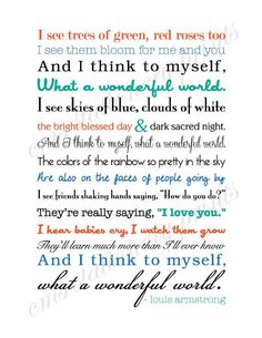 louis armstrong - what a wonderful world song lyrics - bought this for the nursery with pink and blue