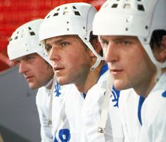 Peter Stastny, center, flanked by brothers Marian (left) and Anton. All three played for the Quebec Nordiques in the after defecting from the Czechoslovakia. Hockey Highlights, Quebec Nordiques, Hockey Hall Of Fame, Hockey Boards, Hockey Rules, Stars Hockey, Bruins Hockey, Colorado Avalanche, Vancouver Canucks