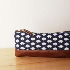 Pencil Pouch in Vintage Fabric and Leather