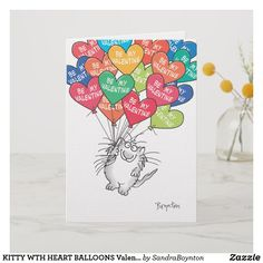 WTH HEART Valentines by Boynton Holiday Card A gleeful cat is carried high by Valentine balloons. A happy card for anyone! Valentines Balloons, Funny Valentines Cards, Valentines Design, Valentines For Boys, Valentine Day Love, Funny Cards, Valentine Theme, Valentine Gifts, Vintage Halloween Images