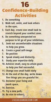 16 confidence-building activities to improve . - 16 confidence-building activities to improve … – - Confidence Building Activities, Vie Motivation, Motivation Success, Health Motivation, Affirmations Positives, Self Esteem Affirmations, Self Care Activities, Leadership Activities, Daily Activities