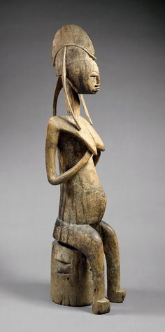 Africa | Seated female figure from the Bamana people of Bougouni or Dioila region of mali | Wood | 15th - 20th century