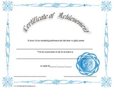 A certificate of achievement with a variety of light blue designs and accents. Free to download and print