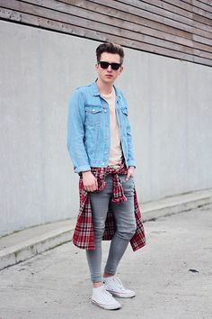 Cheap Monday Jacket, Cos Tee, H&M Shirt, Cheap Monday Jeans, Converse Sneakers