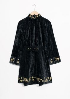 & Other Stories   Velveteen Embroidery Dress
